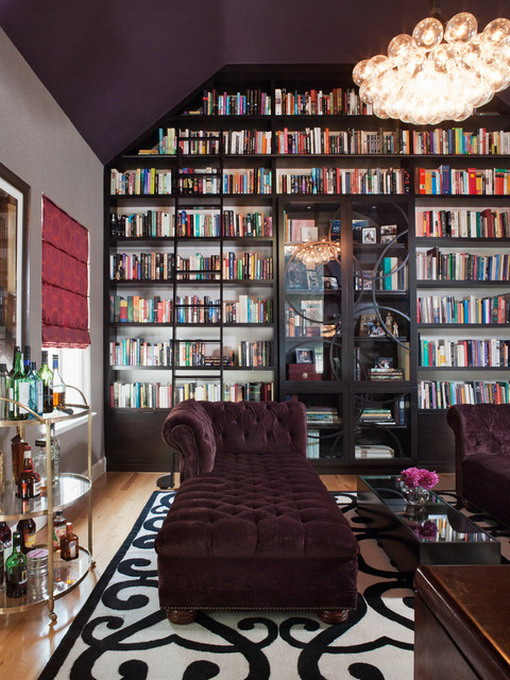 Dark-Bookcase-and-Purple-Sofa-in-Eclectic-Living-Room
