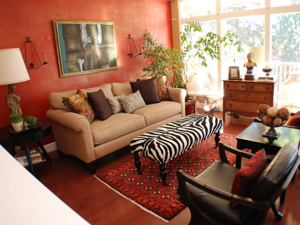 Eclectic-Living-Room-with-Zebra-Covered-Table