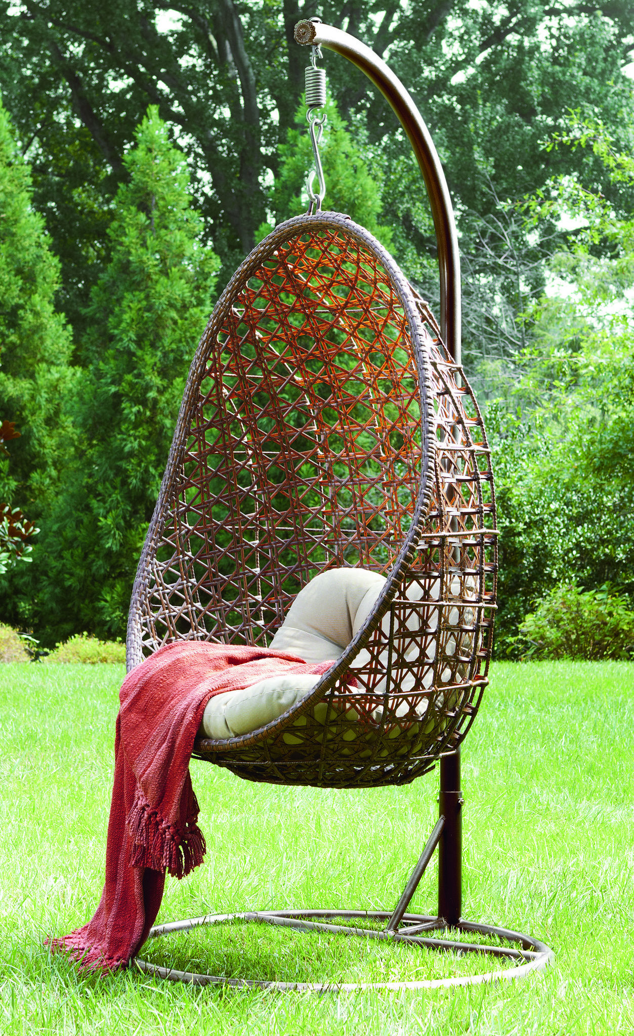 Full Chair White Color Ball Shape Hanging Wicker Chair