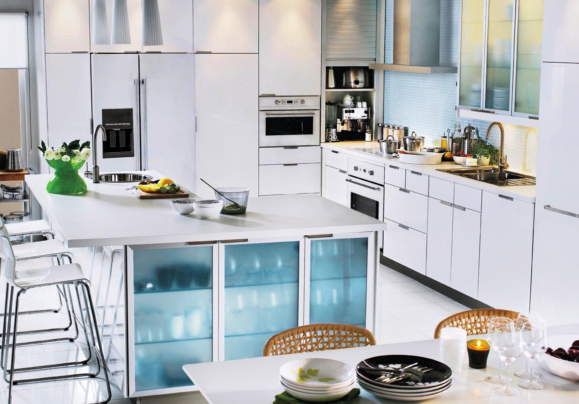 L-shaped-White-Wood-Bar-Table-Top-Ikea-Kitchen-Design
