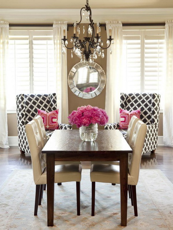 Beautiful Dining Room Brown Pink Black White
