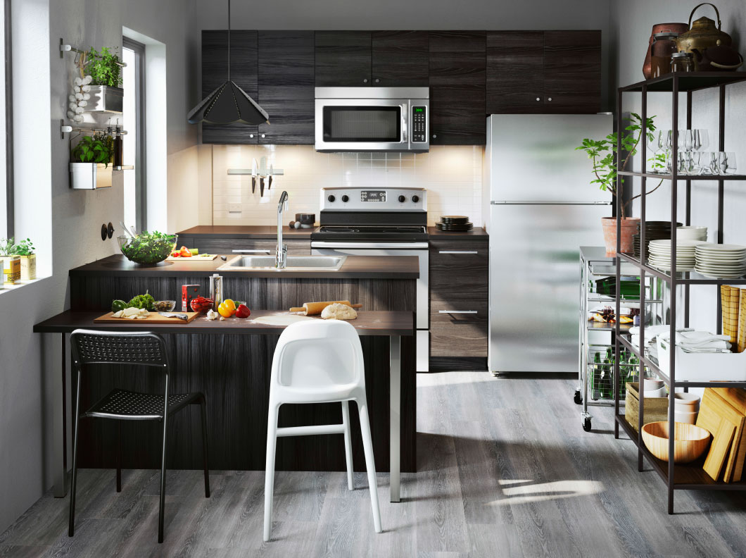 small kitchen with black wood effect drawers