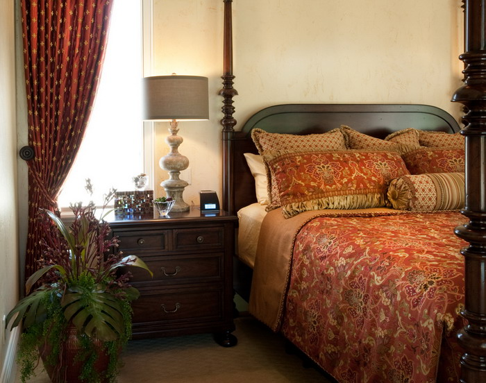 Dark-Wood-Side-Table-in-Romantic-Master-Bedroom