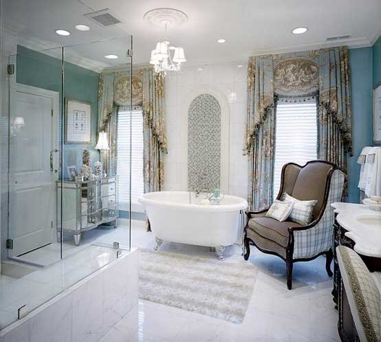 Deluxe-Bathroom-with-Small-Bathtub-and-Classic-Chair