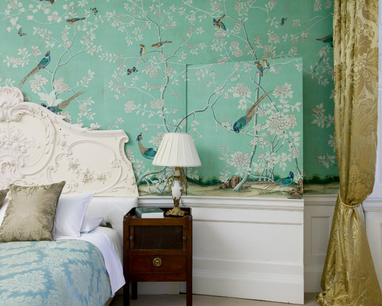 Fabulous-Birds-Chinoiserie-Wallpaper-on-Blue-Simple-Stand-Lamp