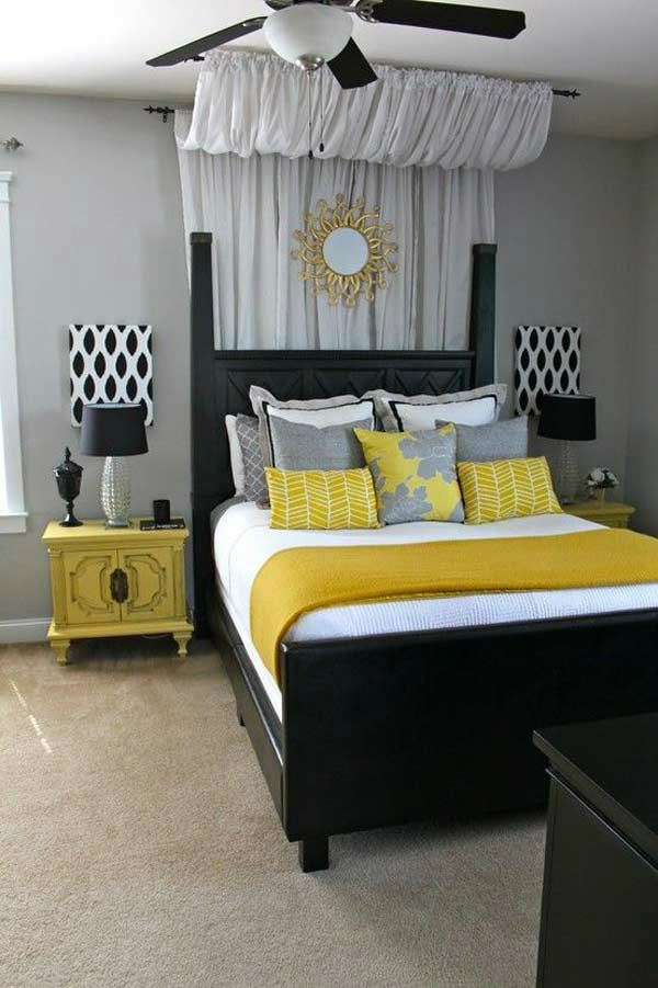 Gray-Black-White-Yellow-Bedroom-Color-Scheme