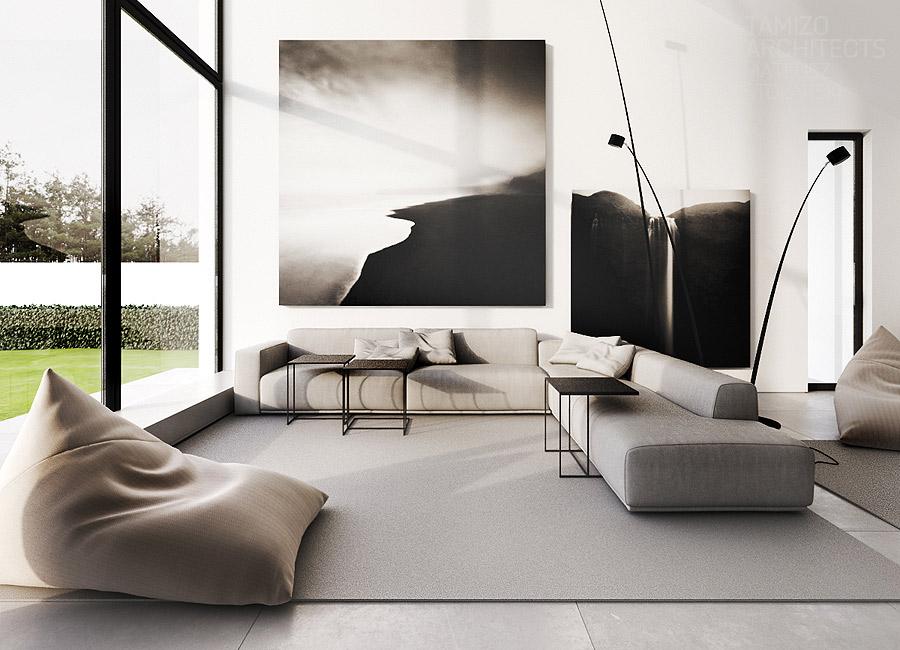 Gray-sofa with Comfortable bean bag