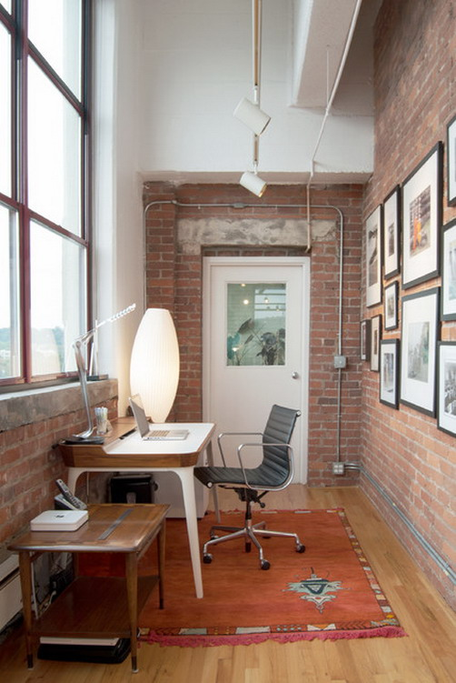 21 industrial home office designs with stylish decor for Small home office furniture ideas