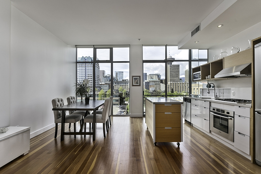 Kitchen-and-dining-space-of-the-modern-loft-style-apartment-in-Vancouver