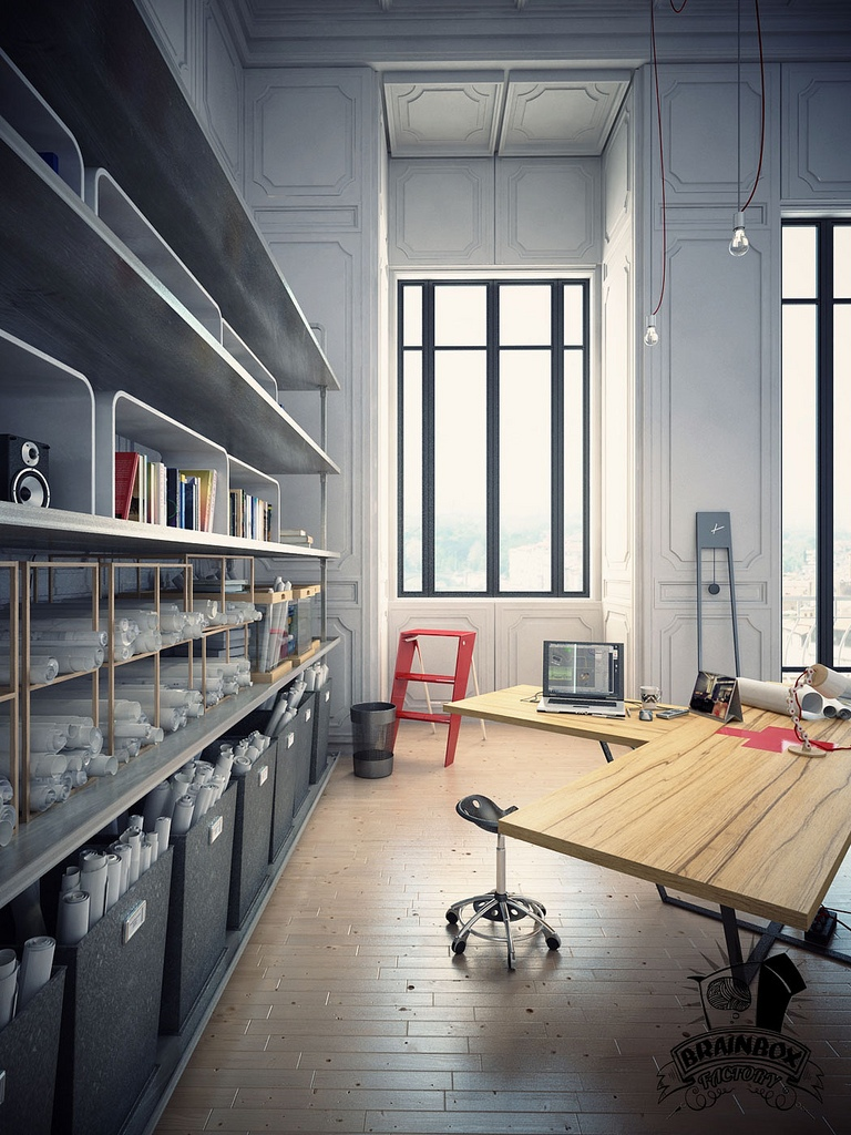 21 industrial home office designs with stylish decor for Industrial office interior