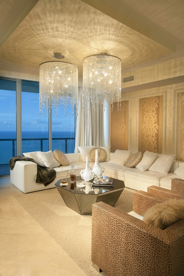 30 amazing crystal chandeliers ideas for your home for Living room interiors designs photos