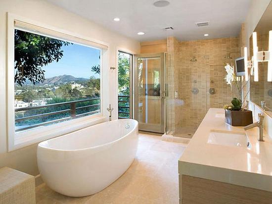 Luxury-Bathroom-Design-Ideas-with-Brown-Wall-Decoration