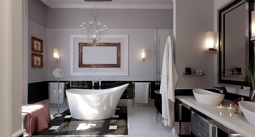 Luxury-modern-bathroom-remodeling-ideas-with-unique-white-bathtub