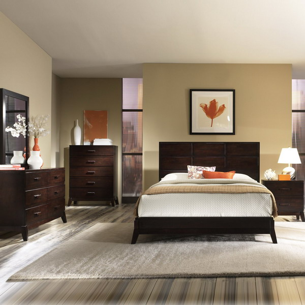 25 dark wood bedroom furniture decorating ideas for Bedroom set decorating ideas
