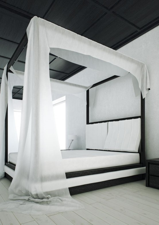 Modern-Black-and-White-Canopy-Bed