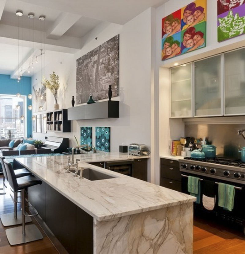 New Yok Loft Apartment Colorful Fresh Kitchen Interior Design