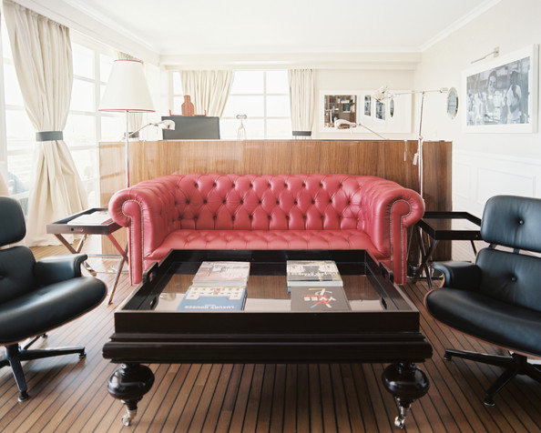 Red Tufted Leather Couch Living Room