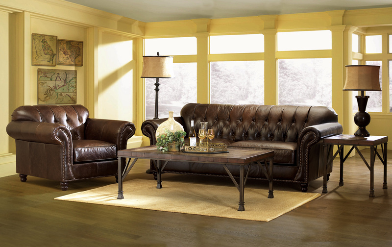Simple Elegance Flynn Tufted All Leather Sofa. Image Via.  Spectacular Tufted Sofa Decorating Ideas