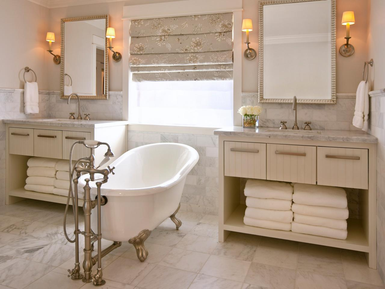 Traditional Cream Bathroom With Claw-Foot Tub