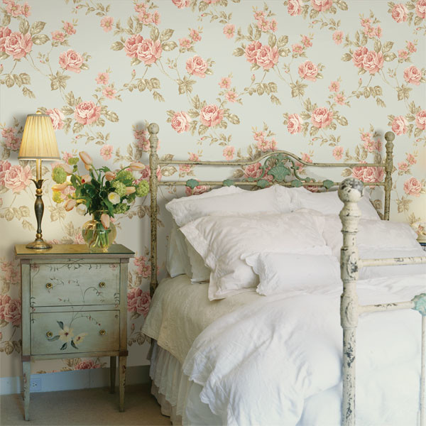 Bedroom Blue Floral Wallpaper Design Ideas