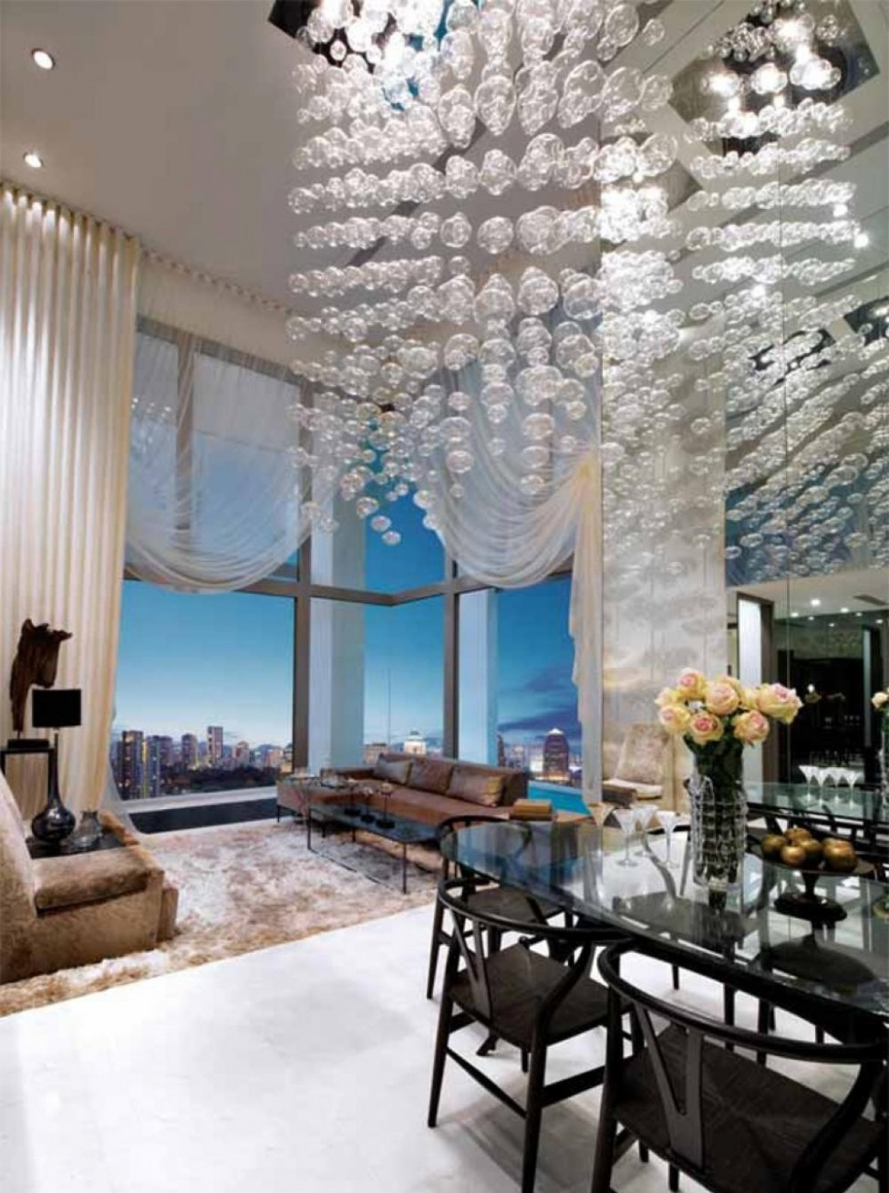 25 tall ceiling living room design ideas for Tall ceiling decor