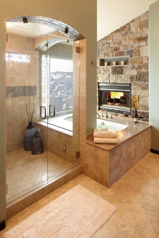rustic-master-bathroom-with-frameless-shower-walk-in-shower