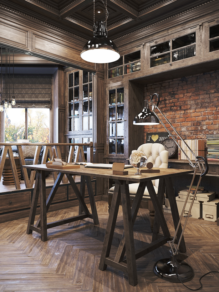 21 industrial home office designs with stylish decor - Vintage looking home decor gallery ...