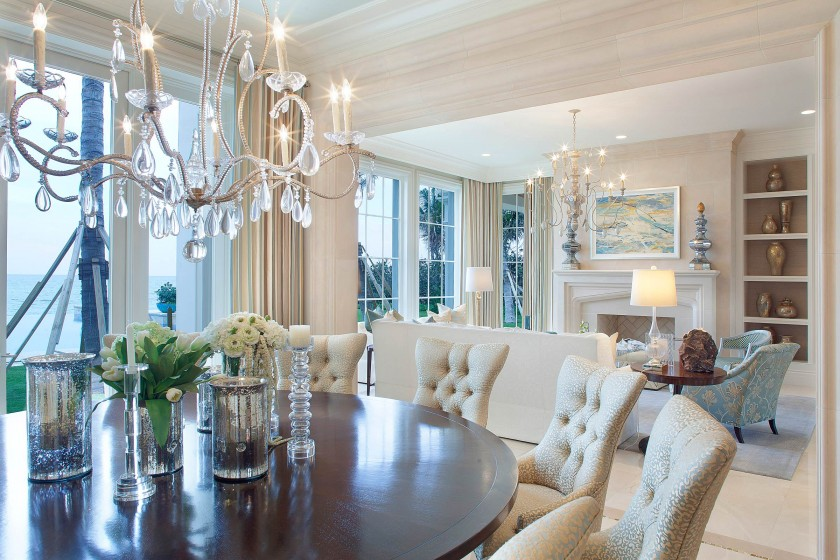 tufted-dining-chairs-and-tray-celings-tray-cileing-over-dinner-table