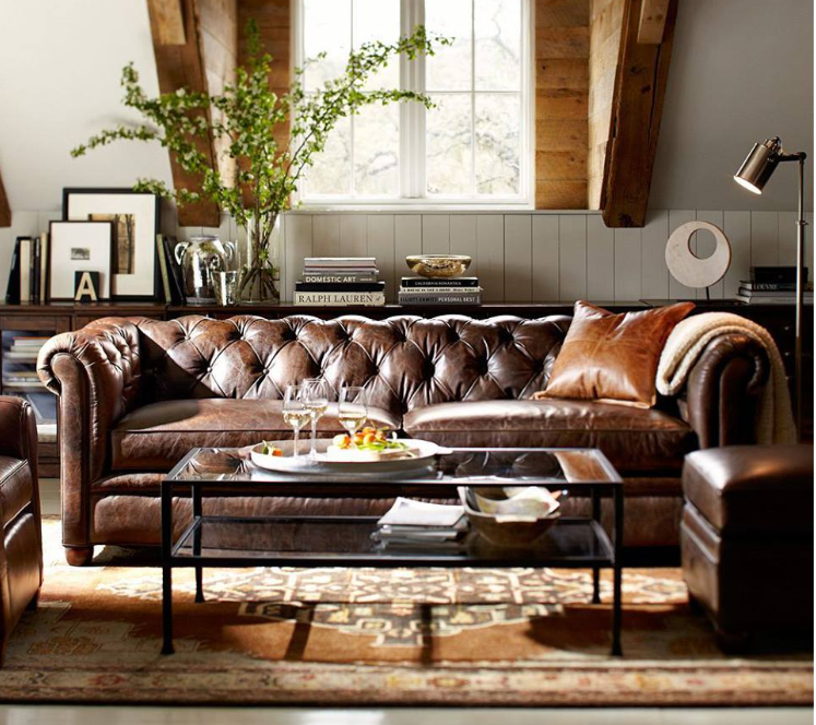 urban-rustic-chic-living-room-with-rusticated-leather-tufted-sofa