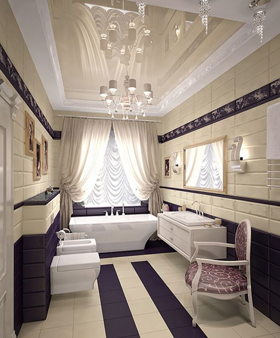 Art Deco Bathroom in purple, cream and white