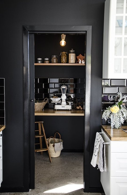 Black subway tiles in a home
