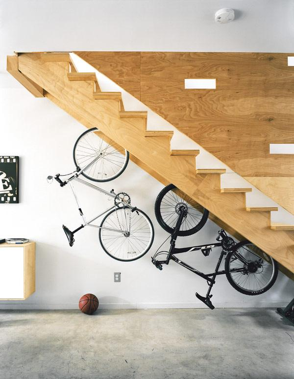 Built-in bicycle racks in a staircase