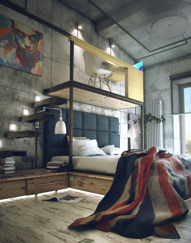 Concrete Bachelor Pad Bedroom