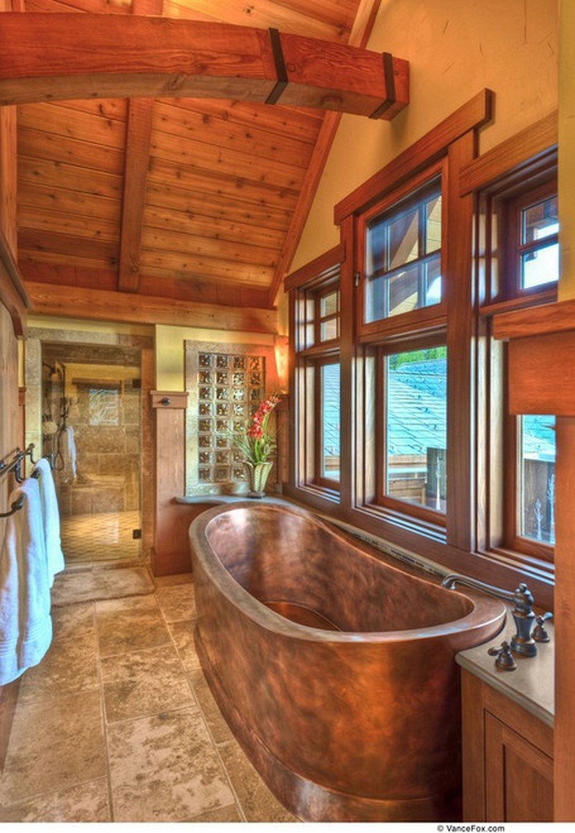 Cottage Inspired Bathroom with Copper Tub