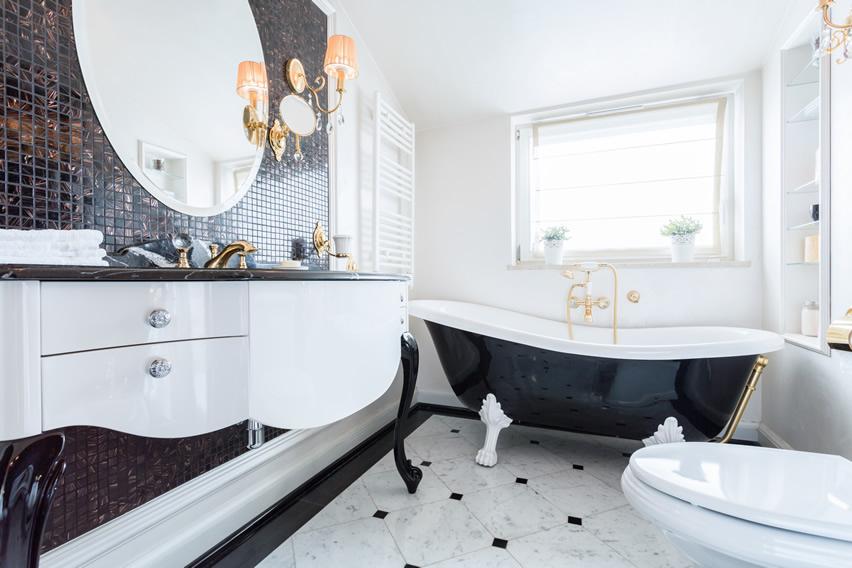 Modern Art Deco Glam bathroom