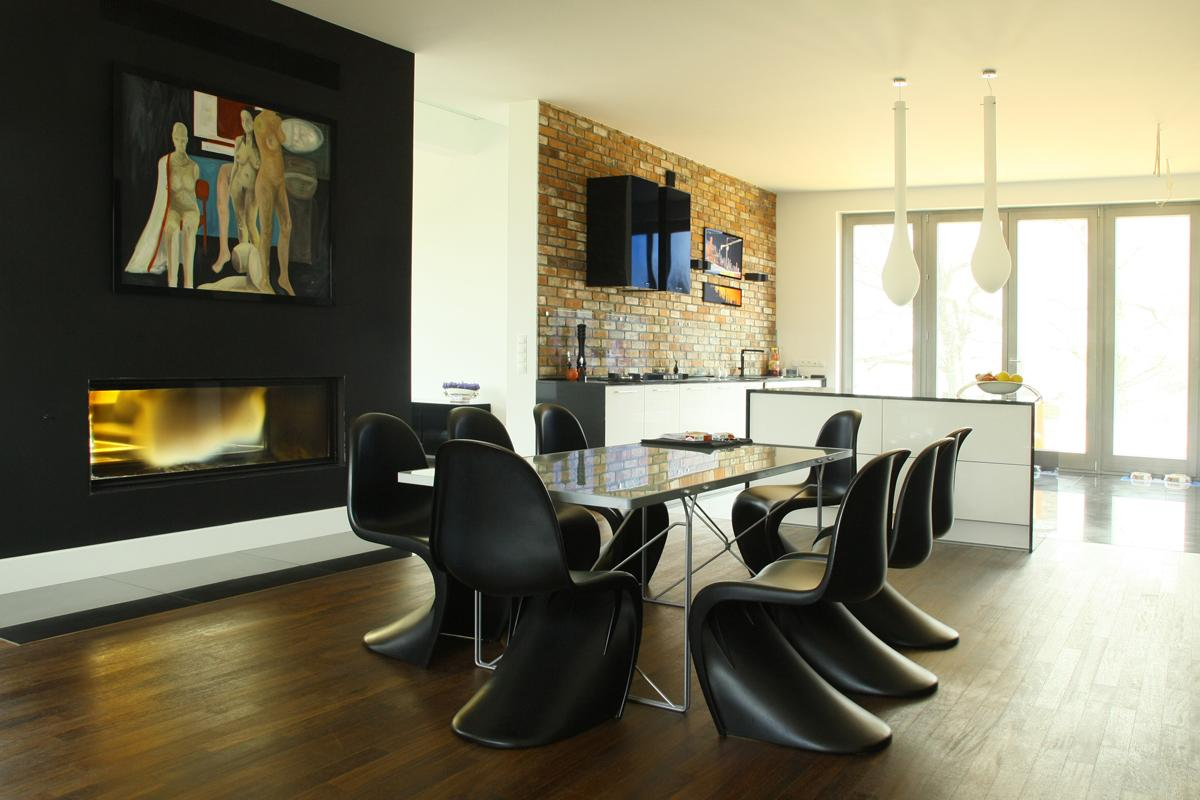 Modern Dining Room with Hutch & Fireplace