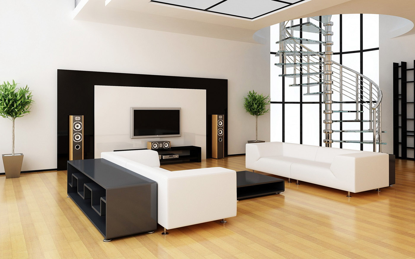 Modern living room design ideas - Modern Living Room With Hardwood Floors
