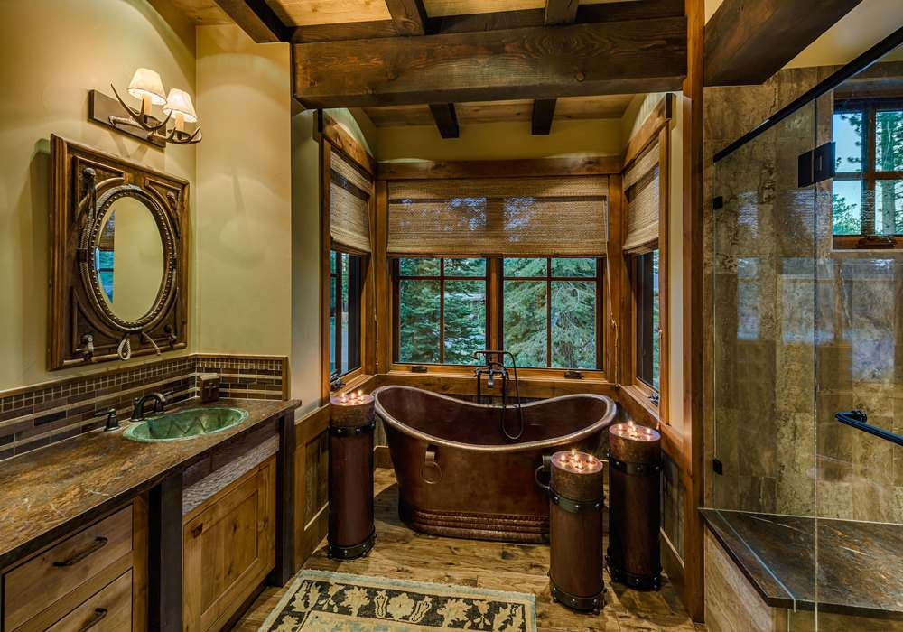 Mountain Rustic Bathroom Featuring Copper Bathtub