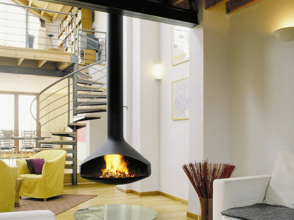 15 gorgeous freestanding suspended fireplace design ideas