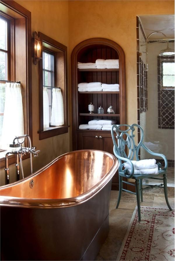 Relaxing Rustic Bathroom with Cooper Tub