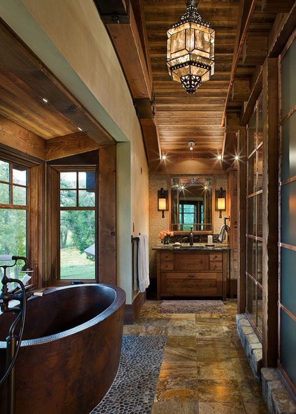 Rustic Bathroom with Dark Choclate Color Finish Bathtub