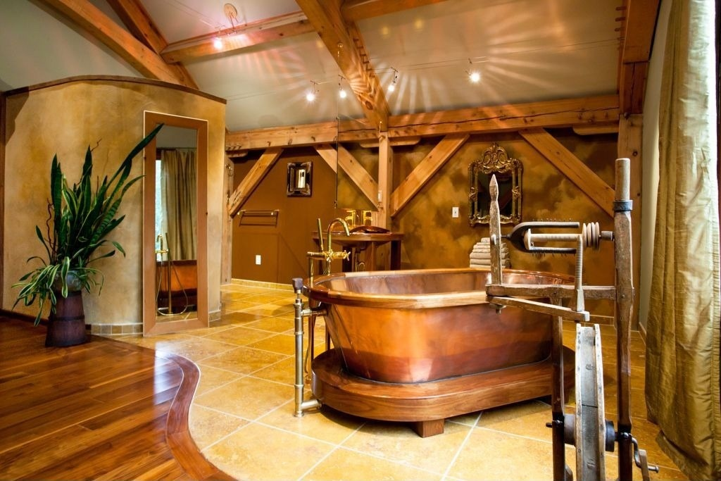 Rustic Master Bathroom with Copper pedestal air tub