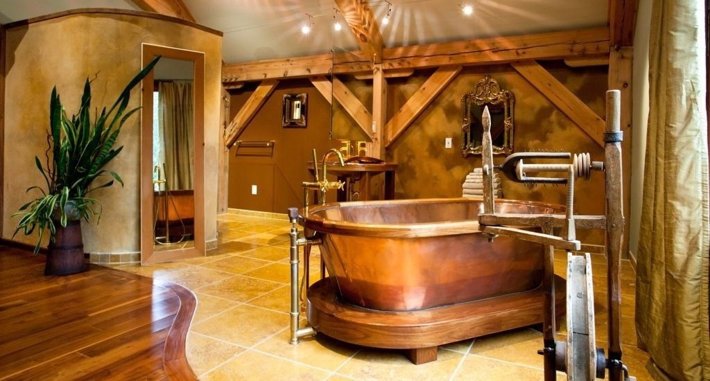 20 rustic bathroom designs with copper bathtub for Adirondack bathroom ideas