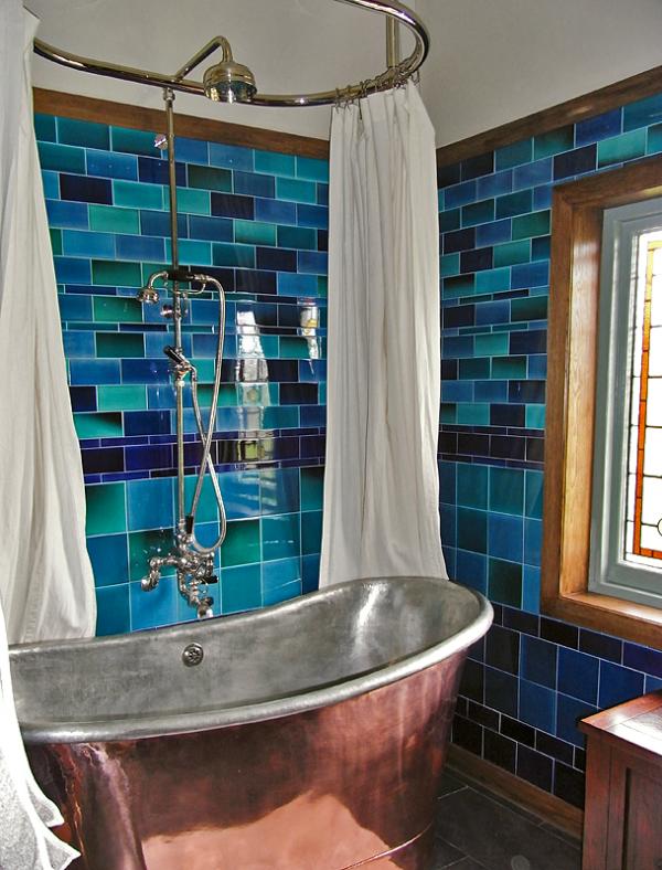 Rustic bathroom with Glittering Copper Bathtub