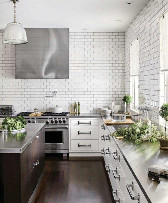 Subway Tiles Stainless Steel Countertop Kitchen