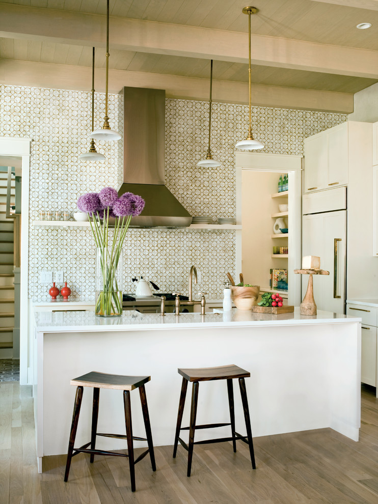 Tropical Kitchen with Beams Brass Counter Stools
