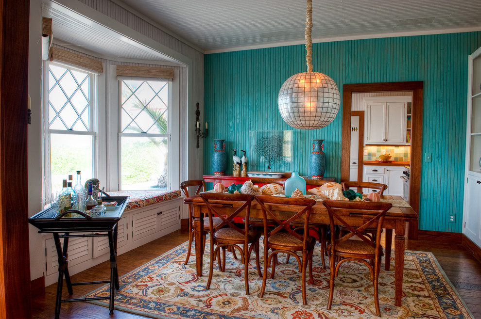 Turquoise Tropical Kitchen with Foxy Dining Room