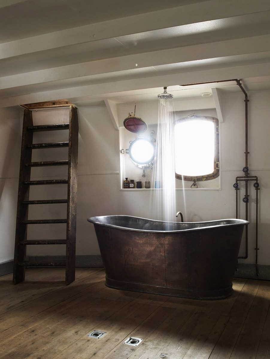 Vintage Rustic Bathroom with Copper Bathtub