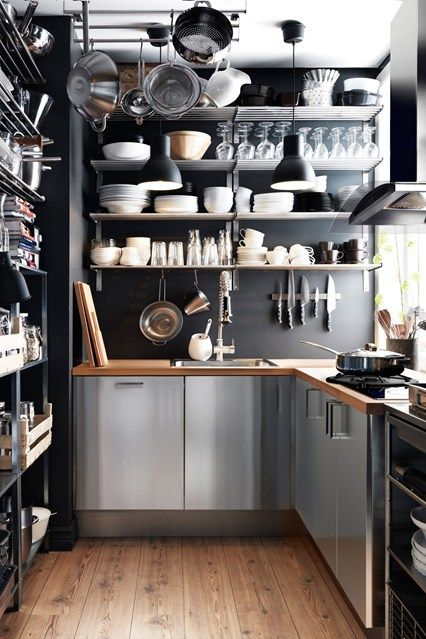 sleek and industrial kitchen cabinet