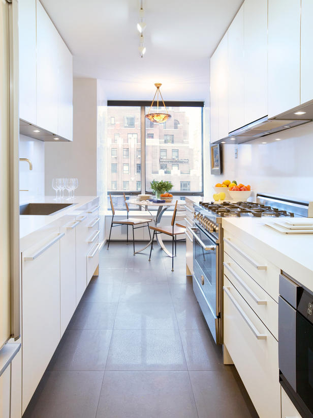 All white gallery kitchen